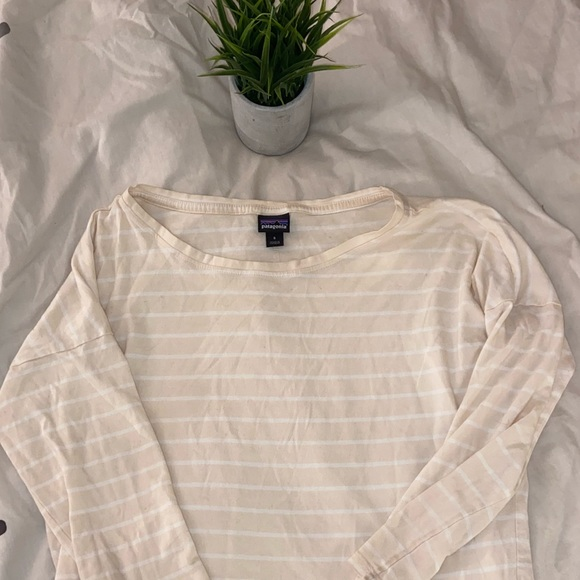 Patagonia Beige Striped Long Sleeve Tee